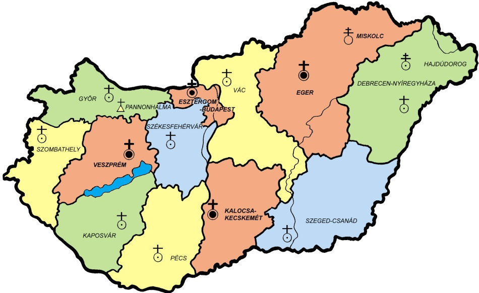 magyarország térkép esztergom Egyházmegyék   .katolikus.hu magyarország térkép esztergom